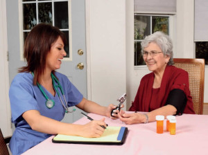Our employee provides in-home senior care nursing services for a Moon River client